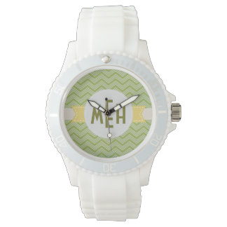 Reloj blanco del deporte de Chevron del verde de