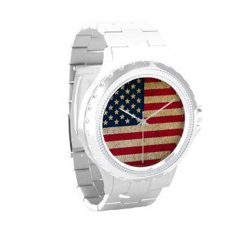 Reloj blanco del esmalte de la bandera americana