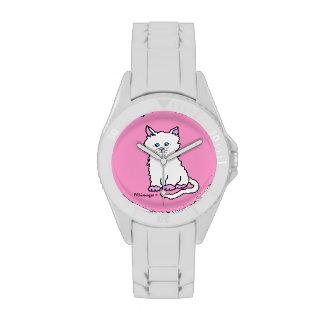 Reloj blanco del gatito de las patas rosadas