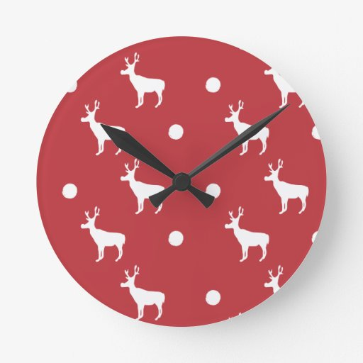 Reloj blanco del reno y de pared de los puntos
