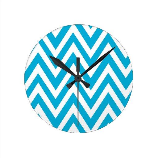 Reloj blanco del zigzag del galón de la aguamarina