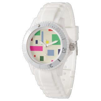 reloj blanco deportivo de encargo coloreado del
