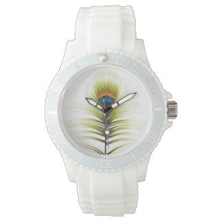 Reloj blanco deportivo de la correa del silicón de