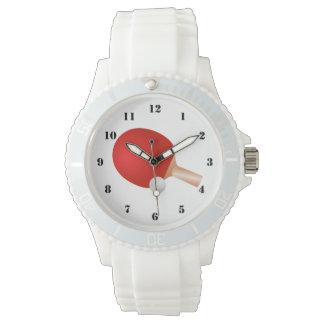 Reloj blanco deportivo de los TENIS DE MESA