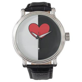 Reloj blanco negro del corazón