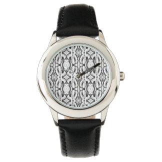 Reloj blanco negro del modelo del cordón