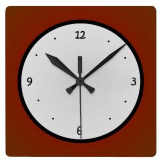 Reloj blanco rojo simplista de Black>Wall