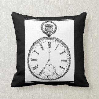 Reloj blanco y negro antiguo del reloj de bolsillo cojín