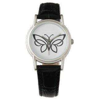 Reloj blanco y negro de la mariposa céltica