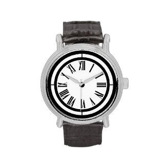 Reloj blanco y negro de los números romanos