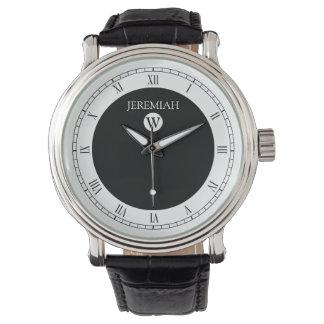 Reloj blanco y negro del monograma elegante