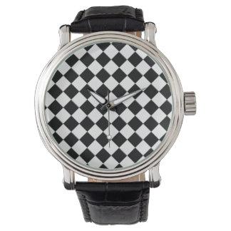 Reloj blanco y negro del vintage del tablero de