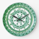 reloj bonito de la placa de Delft del verde del vi
