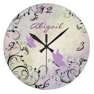Reloj bonito personalizado de la mariposa y de par