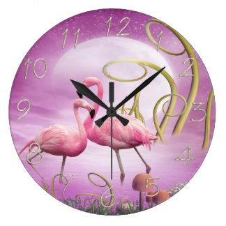 Reloj caprichoso de los flamencos del rosa del paí