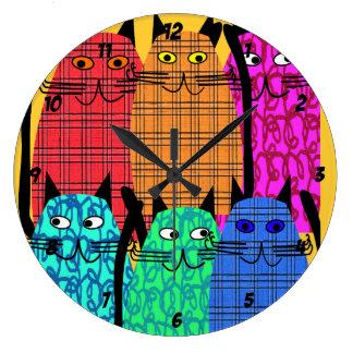 Reloj caprichoso de los gatos