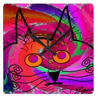 Reloj caprichoso del arte del gato