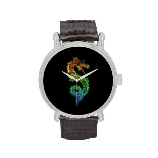 Reloj chino colorido del dragón