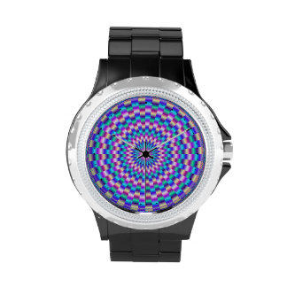 Reloj circular azul y rosado de los vínculos