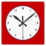 reloj clásico blanco y azul rojo
