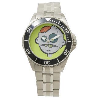 Reloj clásico de los cerebros del zombi del acero