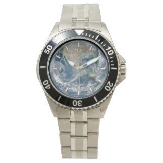 Reloj clásico del acero inoxidable de la tierra