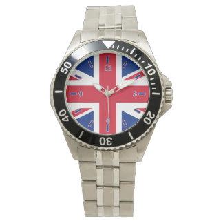 Reloj clásico del acero inoxidable de Union Jack