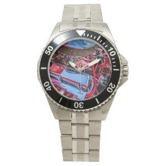 Reloj clásico del acero inoxidable del motor de