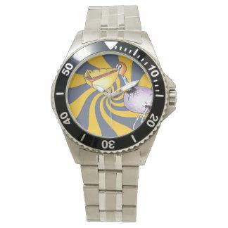 Reloj clásico del acero inoxidable del pelícano