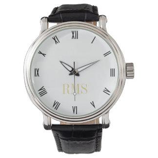 Reloj clásico para hombre de las iniciales del