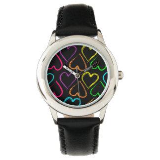 Reloj coloreado de los corazones