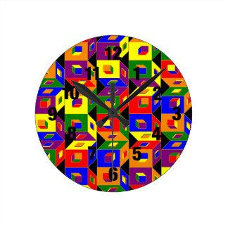 Reloj coloreado de los cubos