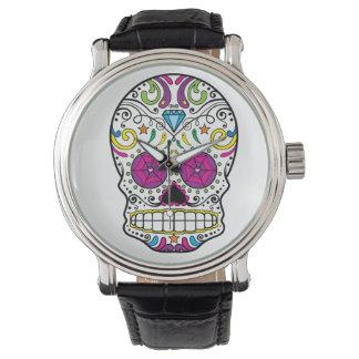 Reloj colorido de la correa del negro del cuero