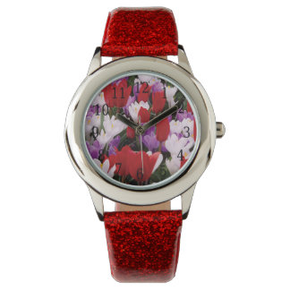Reloj colorido de las flores del tulipán