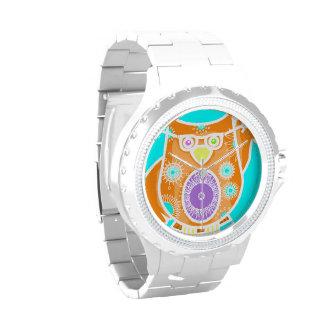 Reloj colorido del búho