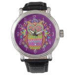 ¡Reloj colorido del búho - retro y maravilloso! Relojes De Mano