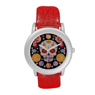 Reloj colorido del cráneo del azúcar - día de los