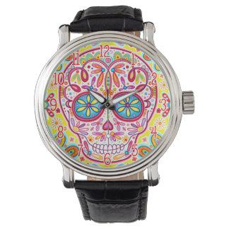Reloj colorido del cráneo del azúcar - día del