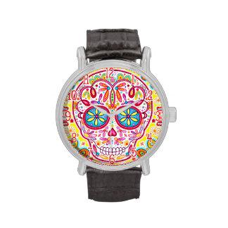 Reloj colorido del cráneo del azúcar - día del art