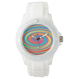 Reloj colorido del diseño del molinillo de viento
