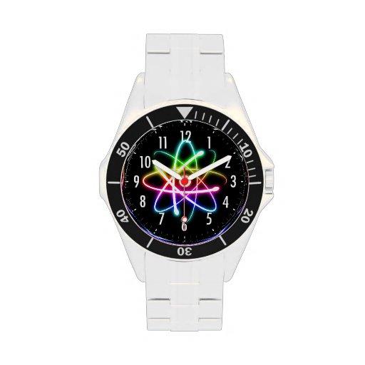 Reloj colorido del friki del átomo que brilla inte