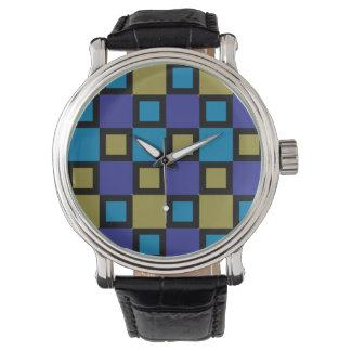 Reloj colorido Mondrian-Inspirado de los cuadrados