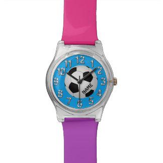 Reloj colorido personalizado del fútbol para los