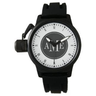 Reloj con clase del monograma de los hombres