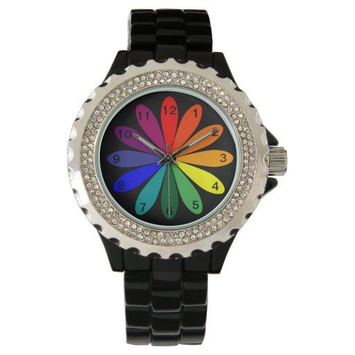 Reloj con el centro de la flor de la rueda de