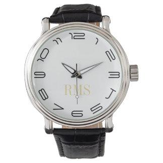 Reloj con monograma clásico para hombre fresco de