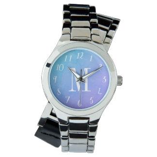 Reloj con monograma de la acuarela