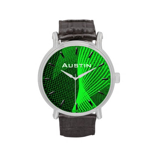 Reloj conocido de encargo del verde de la onda de