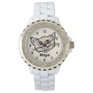 Reloj conocido gráfico del gatito del gato de la