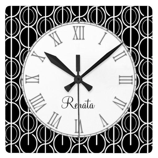 Reloj conocido negro y blanco del modelo gráfico o